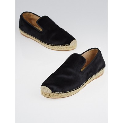 Celine Black Pony Hair Espadrille Slipper Flats Size 6.5/37