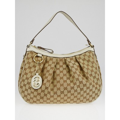 Gucci Beige/White GG Canvas Sukey Medium Hobo Bag