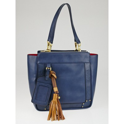 Chloe Blue Coated Canvas Small Eden Tote Bag