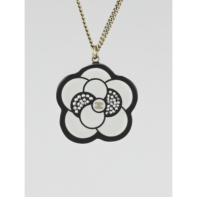 Chanel Black/White Resin Crystal Camellia CC Pendant Necklace