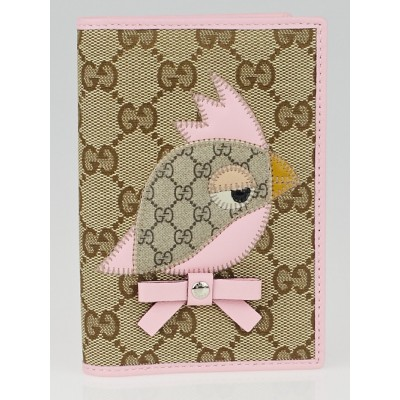 Gucci Beige/Pink GG Coated Canvas Gucci Zoo Parrot Passport Holder