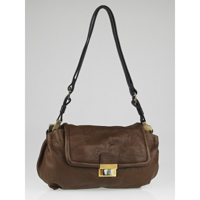 Lanvin Brown Lambskin Leather Maisha MM Bag