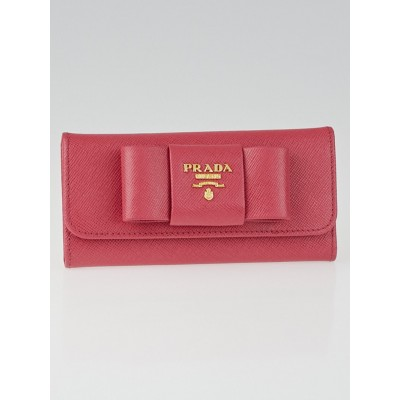Prada Peonia Saffiano Leather Bow Six Key Ring Holder