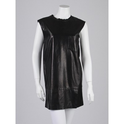 3.1 Phillip Lim Black Lambskin Leather Shift Dress Size 2