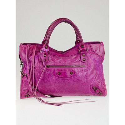 Balenciaga Magenta Chevre Leather Motorcycle City Bag