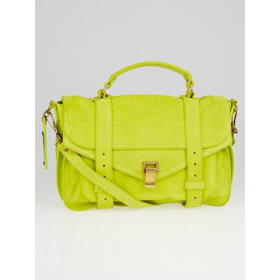 Proenza Schouler Neon Yellow Suede Medium PS1 Satchel Bag