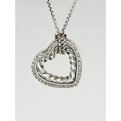 David Yurman Sterling Silver and Diamond Cable Heart Pendant Necklace