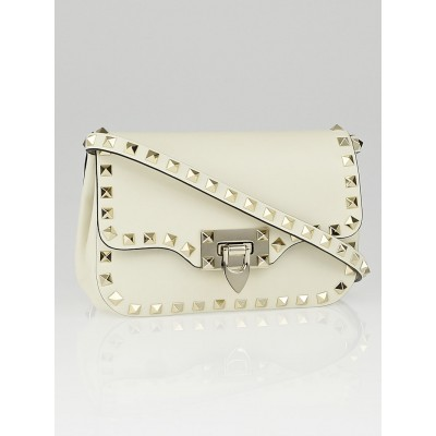 Valentino White Leather Rockstud Mini Crossbody Bag