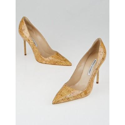 Manolo Blahnik Polished Cork BB 105 Pointed Toe Pumps Size 8/38.5
