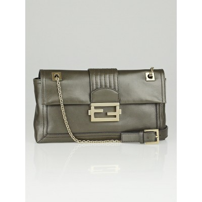 Fendi Taupe Metallic Leather Baguette Chain Flap Bag 8BT139