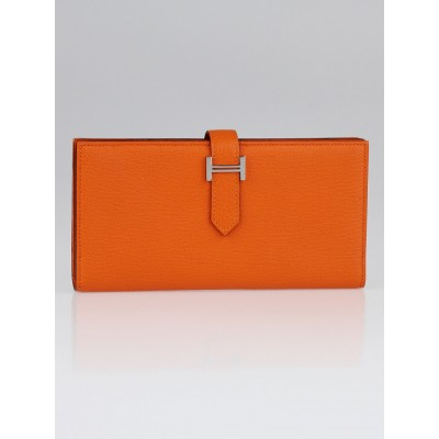Hermes Orange Chevre Mysore Bearn Gusset Wallet