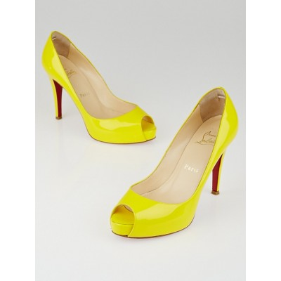 Christian Louboutin Yellow Patent Leather Very Prive 100 Peep Toe Pumps Size 6.5/37