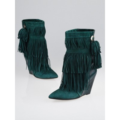 Isabel Marant Vert Suede/Leather Fringed Jacob Wedge Boots Size 6.5/37