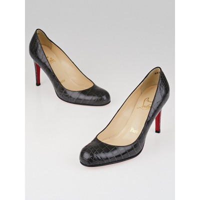 Christian Louboutin Grey Crocodile Simple 85 Pumps Size 4.5/35