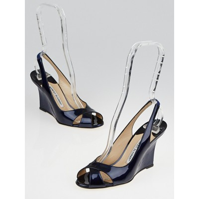 Manolo Blahnik Navy Patent Leather Shala Slingback Wedges Size 5/35.5