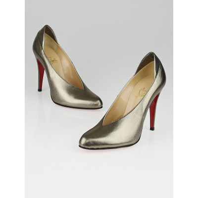 Christian Louboutin Dark Gold Nappa Leather Hung Up Pumps Size 9/39.5