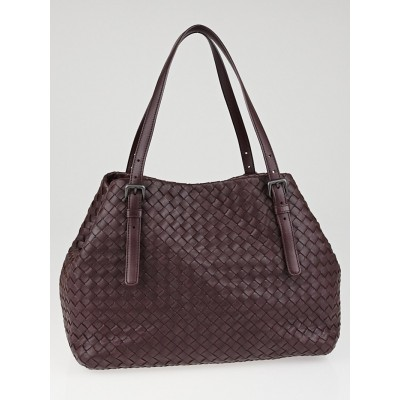 Bottega Veneta Aubergine Intrecciato Woven Nappa Leather Medium Tote Bag