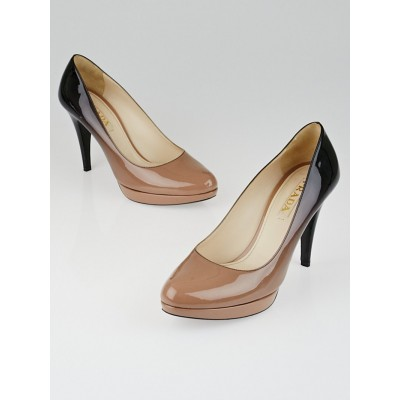 Prada Beige/Black Degrade Patent Leather Platform Pumps Size 9/39.5