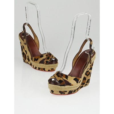 Christian Louboutin Leopard Print Pony Hair Tigresse 120 Espadrille Wedges Size 9.5/40