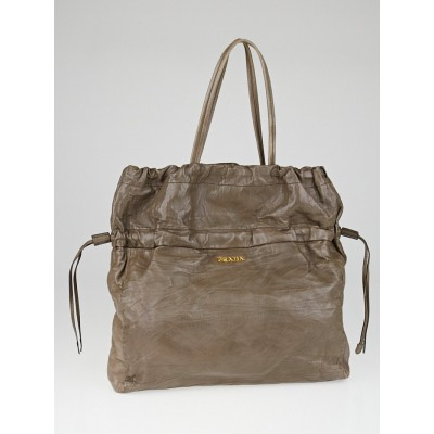 Prada Bambu Nappa Antique Leather Drawstring Shopping Tote Bag BN1757