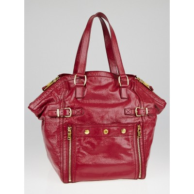 Yves Saint Laurent Raspberry Patent Leather Large Downtown Bag