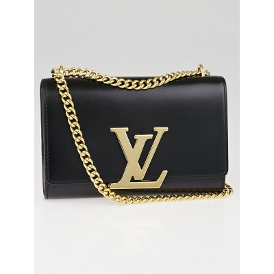 Louis Vuitton Black Calfskin Leather Chain Louise MM Bag