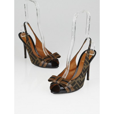 Fendi Tobacco Zucca Canvas Slingback Bow Heels Size 8.5/39