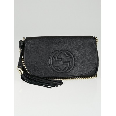 Gucci Black Pebbled Calfskin Leather Soho Shoulder Bag