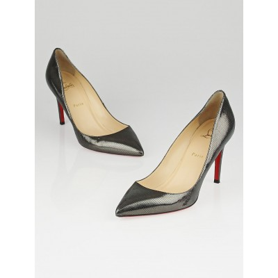 Christian Louboutin Anthracite Facette Laminato Leather Pigalle 85 Pumps Size 9.5/40