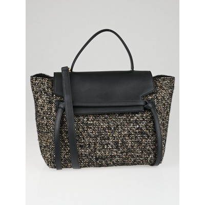 Celine Black/Brown Tweed and Leather Mini Belt Bag