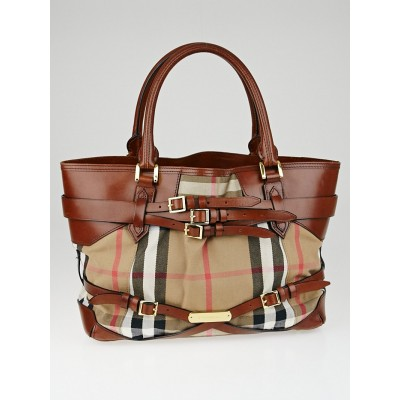 Burberry Brown Leather Bridle House Check Canvas Lynher Medium Tote Bag
