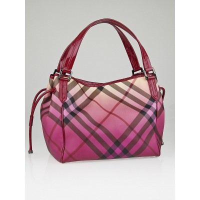 Burberry Raspberry Gradient Supernova Check Coated Canvas Bilmore Tote Bag
