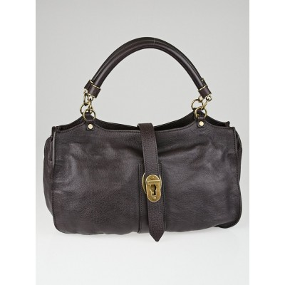 Burberry Dark Brown Buffalo Leather Satchel Bag
