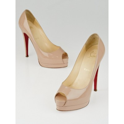 Christian Louboutin Nude Patent Leather Altadama 140 Peep Toe Platform Pumps Size 6.5/37