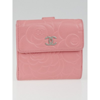 Chanel Pink Camellia Embossed Lambskin Leather Compact Wallet