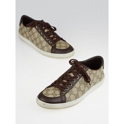 Gucci Beige/Ebony GG Supreme Canvas and Leather Brooklyn Sneakers Size 8.5/39