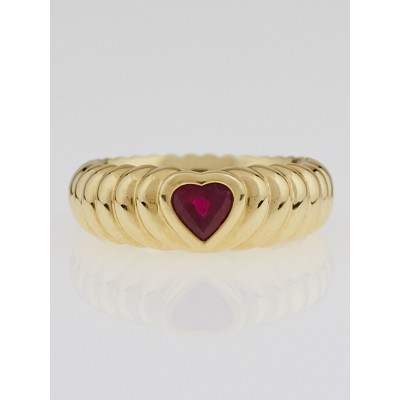 Tiffany & Co. 18k Gold and Red Tourmaline Heart Love Ring Size 5
