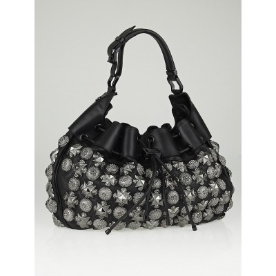 Burberry Prorsum Black Leather Mason Warrior Hobo Bag