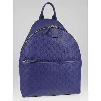 Gucci Blue Guccissima Leather Zip Backpack Bag