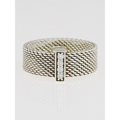 Tiffany & Co. Sterling Silver and Diamond Somerset Mesh Wide Ring Size 6