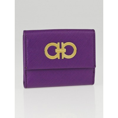 Salvatore Ferragamo Violet Pebbled Leather Compact Wallet