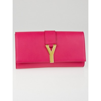 Saint Laurent Pink Smooth Calfskin Leather Ligne Y Clutch Bag