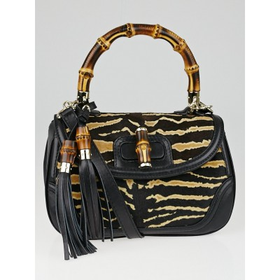 Gucci Black/Brown Tiger Print Pony Hair Bamboo Top Handle Satchel Bag
