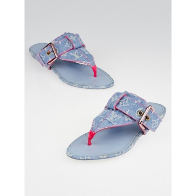 Louis Vuitton Blue Denim Monogram Thong Sandals Size 6.5/37