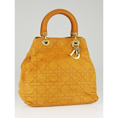 Christian Dior Camel Quilted Cannage Leather Soft Lady Dior Tote Bag