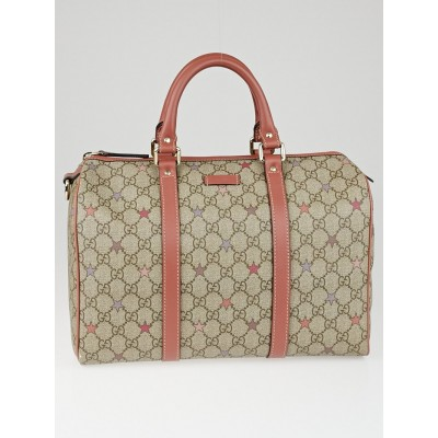 Gucci Beige/Pink GG Coated Canvas Star Medium Joy Boston Bag
