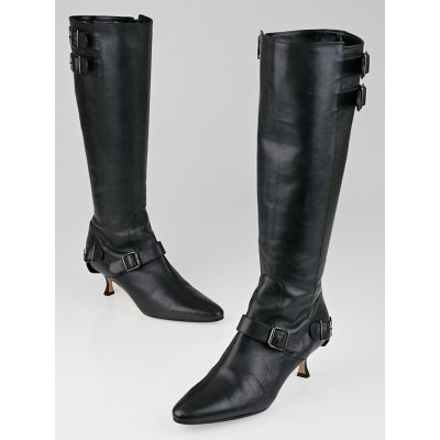 Manolo Blahnik Black Leather Buckle Knee High Boots Size 8/38.5