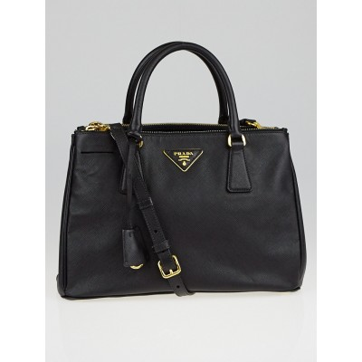 Prada Black Saffiano Lux Leather Double Zip Small Tote Bag BN1801