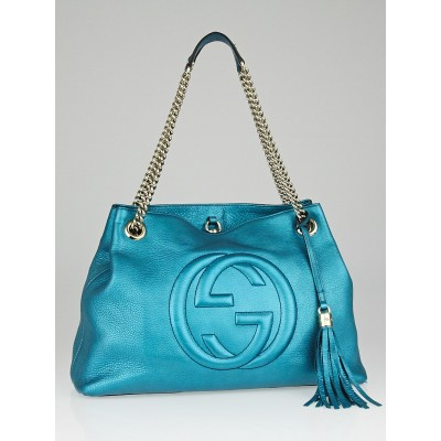 Gucci Turquoise Metallic Leather Soho Chain Tote Bag