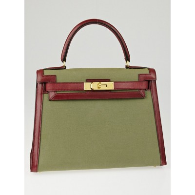 Hermes 28cm Rouge H Barenia Leather and Olive Canvas Kelly Sellier Bag